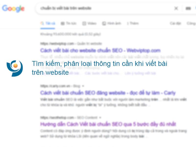 Tìm kiếm, phân loại chuẩn bị thông tin cần thiết khi viết bài trên website